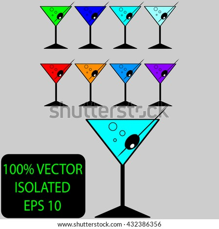 set of colored drinks on gray background with bubbles number 1