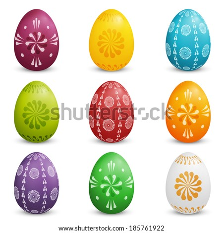 Set of Colored Easter Eggs - stock vector