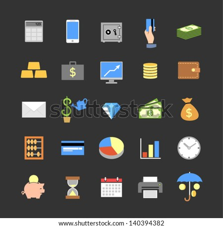 Set of colored finance icons