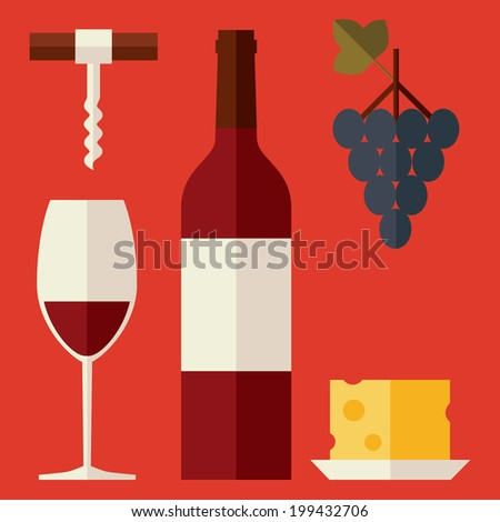 Set of colored flat design vector illustration icons related to wine including wine bottle, wine glass, grapes, corkscrew and cheese. Isolated on stylish bright background - stock vector