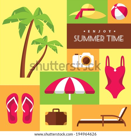 Set of colored flat summer icons num.2 on beach and touristic themes - stock vector
