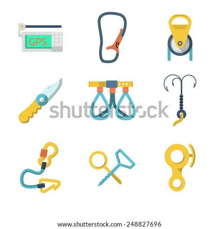 Set of colored flat vector icons for equipment for rock climbing or alpinism on white  background. - stock vector