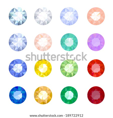 set of colored gemstones on a white background - stock vector