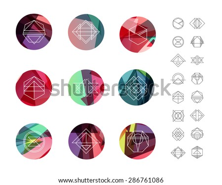 Set of colored geometric crystal circles in polygon style with geometric shapes. Geometric hipster retro background and logotypes, logos.