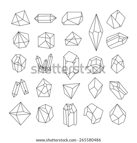 Set of colored geometric crystals. Geometric shapes. Trendy hipster retro backgrounds and logotypes. - stock vector