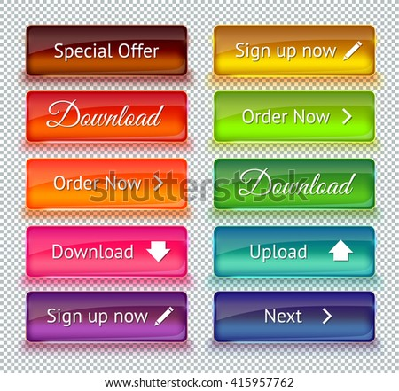 Set of colored glass buttons for web interface. Web elements. Web site. Vector illustration.  - stock vector