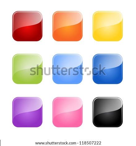 Set of colored glossy blank button isolated on white background - stock vector