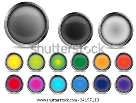 Set of colored glossy icons - stock vector