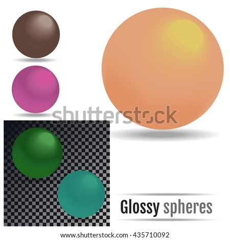 Set of colored Glossy spheres Vector. - stock vector