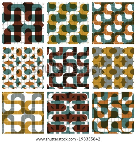 Set of colored grate seamless patterns with labyrinth and geometric figures, transparent symmetric bright wavy tiles, infinite geometric surface textures with squares and abstract figures. - stock vector