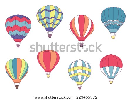 Set of colored hot air balloons with different patterns on the envelope, vector illustration on white - stock vector