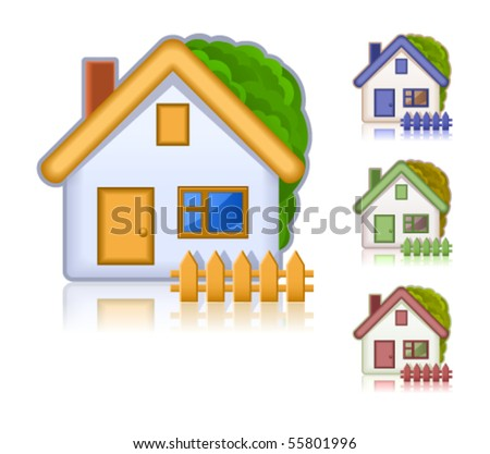 Set of colored houses. Web icons collection - stock vector