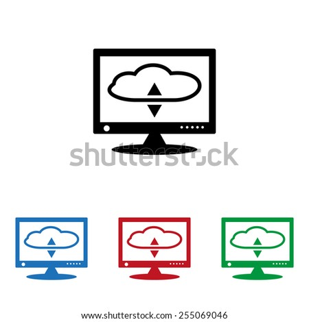 Set of colored icons. Black, blue, red, green.  cloud storage on the computer, icon, vector illustration. Flat design style - stock vector