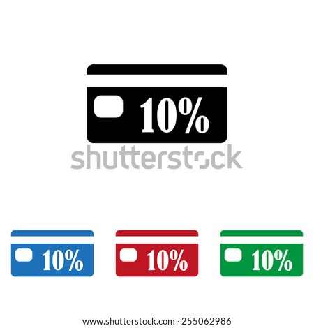 Set of colored icons. Black, blue, red, green.  Discount label, icon, vector illustration. Flat design style - stock vector