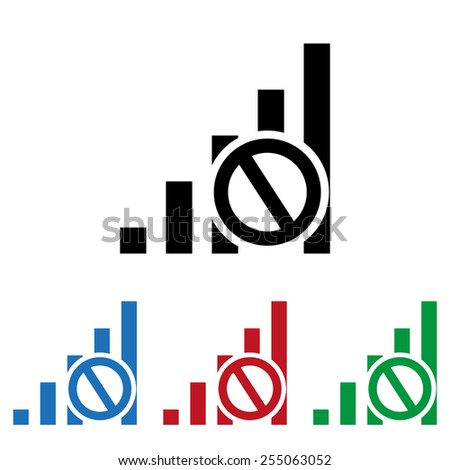 Set of colored icons. Black, blue, red, green.  no signal, poor signal strength, signal strength indicator, icon, vector illustration. Flat design style - stock vector