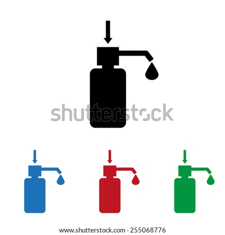 Set of colored icons. Black, blue, red, green.  Shower Gel, Liquid Soap, Lotion, Cream, Shampoo, Bath Foam. , vector illustration, EPS 10 - stock vector