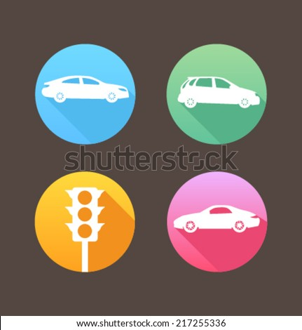 Set of colored icons for website and mobile application. Flat design. Vector. Editable. Transportation. - stock vector