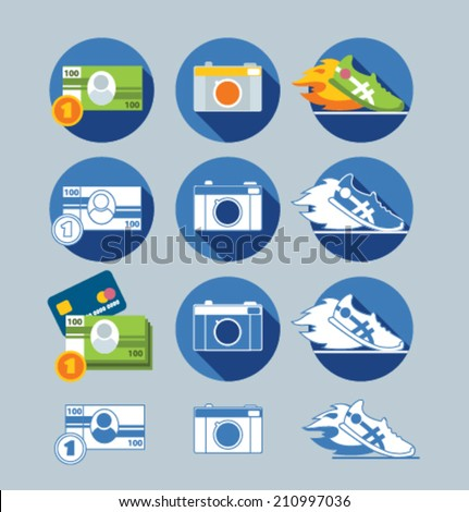 Set of colored icons for website and mobile application. Flat design. Vector. Editable. Business, travel and on-line shopping . - stock vector