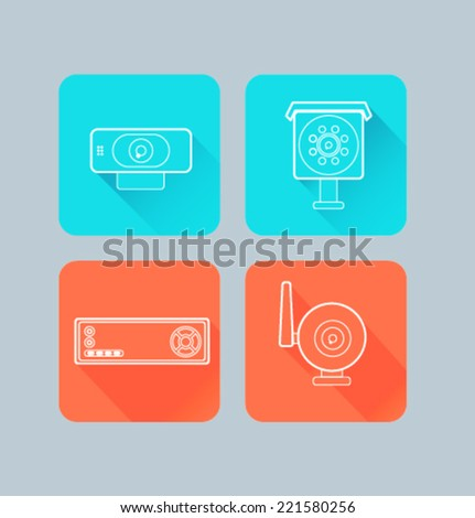 Set of colored icons for website and mobile application. Flat design. Vector. Editable. Camera.  - stock vector