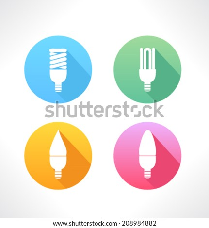 Set of colored icons for website and mobile application. Flat design. Vector. Editable. Electric lamp. - stock vector