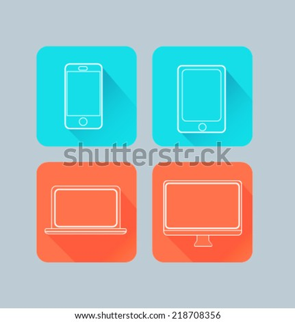 Set of colored icons for website and mobile application. Flat design. Vector. Editable. Electronics device.  - stock vector