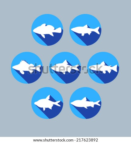 Set of colored icons for website and mobile application. Flat design. Vector. Editable. Pets and food. Fish. - stock vector