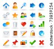 Set of 25 colored icons for websites and online communities - stock vector