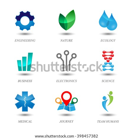 Set of colored icons. Logo design.. Contains transparent objects. - stock vector