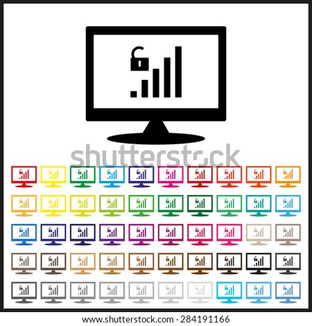 Set of colored icons. signal strength indicator, open access. icon. vector design - stock vector