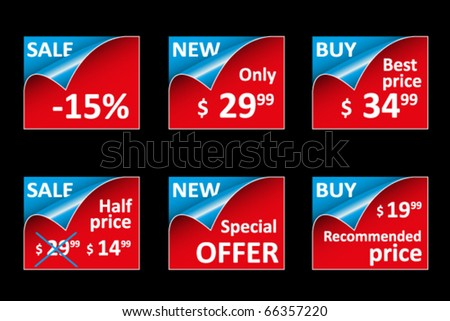 Set of colored labels and tags for sale - stock vector