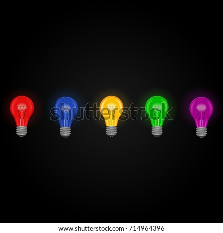 Colored Light Bulbs rainbow colored light bulbs isolated stock photo 19244020