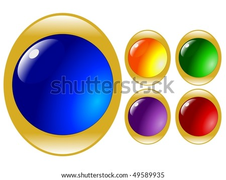 set of colored media buttons