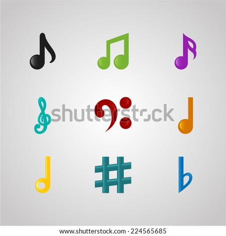 set colored music notes isolated on stock photo photo vector