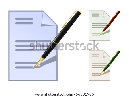Set of colored note icons with fountain pen - stock vector