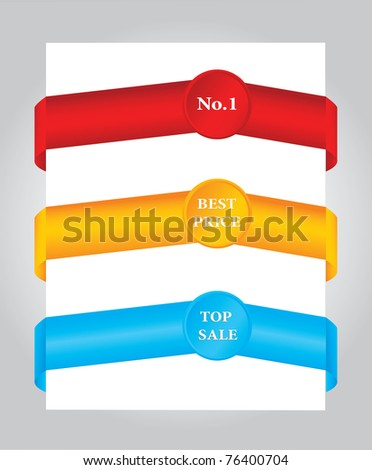 Set of colored paper tags - stock vector