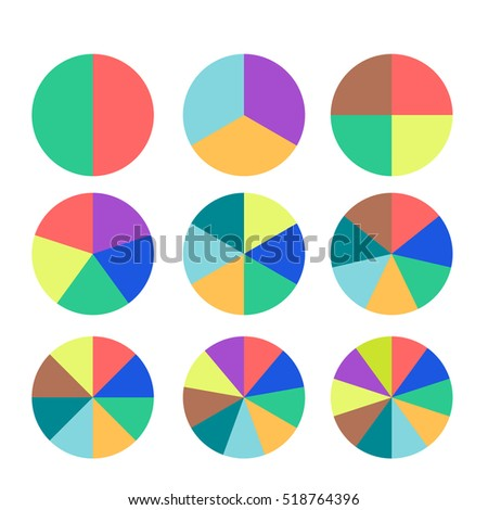 Set of colored pie charts. Templates sectoral graphs in flat style. Business data, colorful elements for infographics. Vector