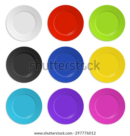 Set of colored plates isolated on white. Vector EPS10 illustration.  - stock vector