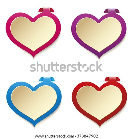 Set of colored price tags in the form of heart isolated on a white background.  The February sale. - stock vector