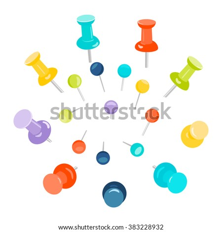 Set of colored push pins on white background. Thumbtacks for maps. Stationery products. Vector illustration.