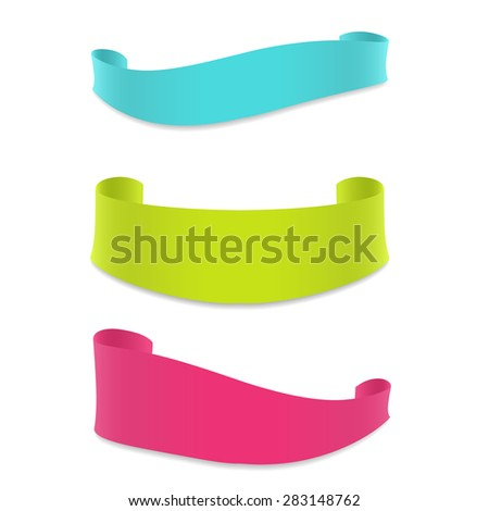 Set of colored ribbon banners for your design project. Vector illustration. - stock vector