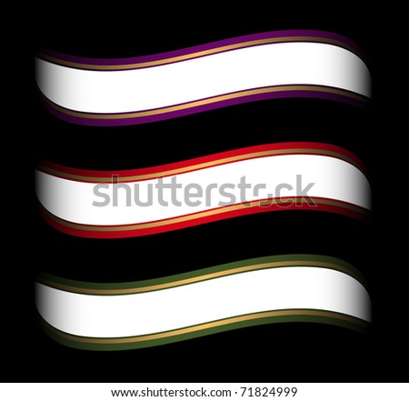set of colored ribbon template for white space on it - stock vector