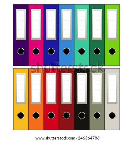 Set of colored ring binders isolated on white. Vector illustration - stock vector