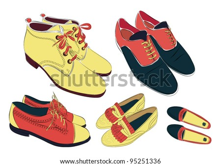 set of colored shoes