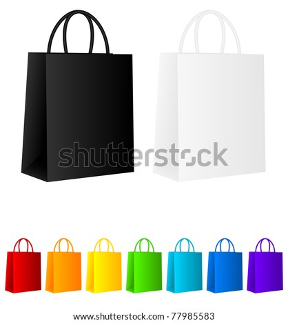 Set of colored shopping bags isolated over white - stock vector