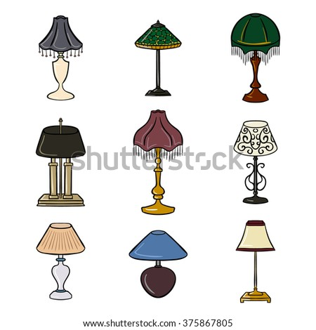 Set Of Colored Sketched Table Lamps With Lampshades Vector Illustration Isolated