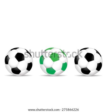 Set of colored soccer balls vector illustration - stock vector