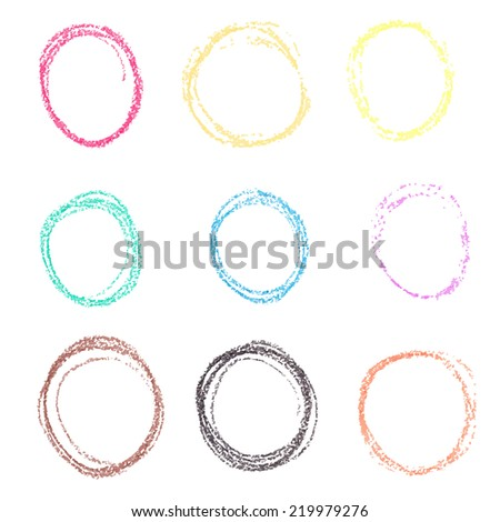 Set of colored spots of wax crayon, isolated on white background