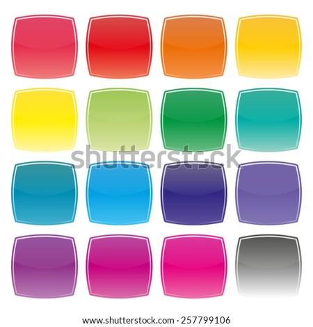 Set of colored square buttons with convex sides, vector illustration. - stock vector