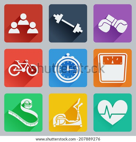Set of colored square icons on fitness. Fashionable flat design with long shadows. Vector illustration. - stock vector