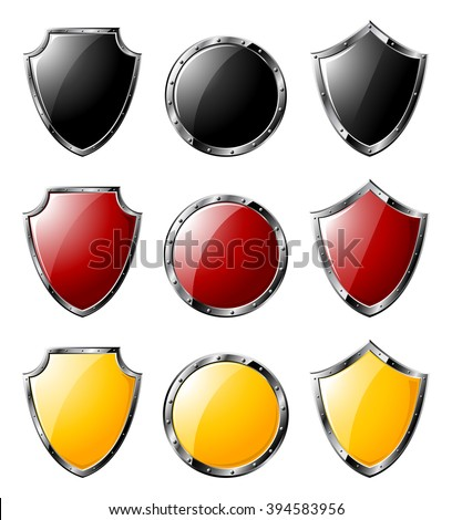 Set of colored steel triangle shields and round shields isolated on white background. Collection of red, yellow and black steel shields .Vector illustration. - stock vector
